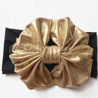 Gold Bow Messy Bow on Black Headwrap