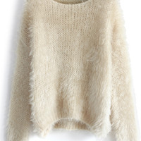 Fuzzy Knitted Sweater in Beige Beige S/M