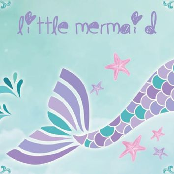 Laeacco Baby Girl Party Mermaid Tail Starfish Painting Photography Background Customized Photographic Backdrops For Photo Studio