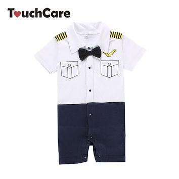 Short Sleeve Baby Boy Girl Rompers Newborn infant Turn-down Collar Tie Romper Cute Mustache Printed Clothes One-Pieces