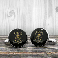 POISON cufflinks - Aphotecary Poison bottle label  - Very elegant mens cuff links