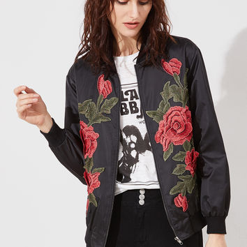 Rose Embroidered Bomber Jacket BLACK | MakeMeChic.COM