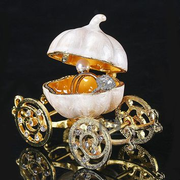 H&D 3.4'' Pumpkin Carriage Figurines Trinket Box Ring Holder Earring Jewelry Stands Storage Box Wedding Jewelry Casket Souvenirs