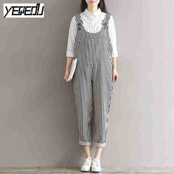 DCCKL3Z #0337 2017 Spring summer Vintage Striped jumpsuit women Fashion Overalls for women Loose Large size Body feminino Retro