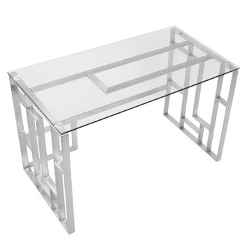 Mandarin Contemporary Desk in Brushed Stainless Steel + Clear Glass - Free Shipping Today - Overstock.com - 18372832 - Mobile