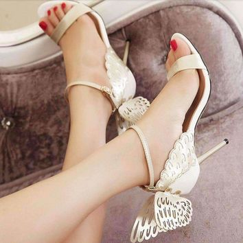 Buckle Strap Butterfly Wing High Heel Sandal