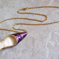 High Heel Necklace Brooch Pointed Toe Pump Purple Enamel Dual Purpose Convertible Jewelry Vintage 012215CM