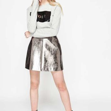 Silver Leather Mini Skirt - Black Friday - Apparel