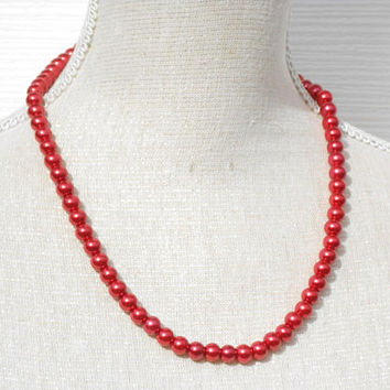 Red pearl necklace, Handmade modern fashion Beaded jewelry, great gift for daughter, aunt, grandma, girlfriend, teacher, mother day
