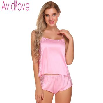 Avidlove Slik Pajamas Set For Women Satin Nightwear Suit Short Pajamas Tank And Camisole Cami Set New Home Clothing Loungewear