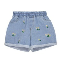 Floral Embroidery Elastic Waist Denim Shorts