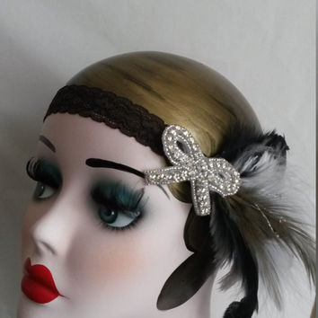 Flapper Headpiece, Vintage Inspired, Bridal Headband, The Great Gatsby, 1920s, 1930s, Party, Roaring 20's,