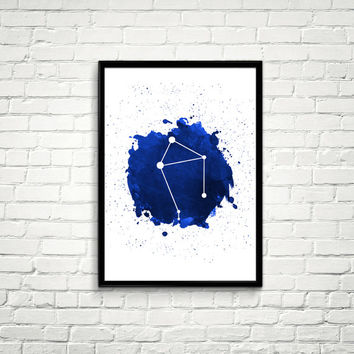 Libra Constellation Watercolor splashes Print, Blue Constellation Wall Art, Navy Blue Night Sky, Libra Constellation, Blue Print *7*