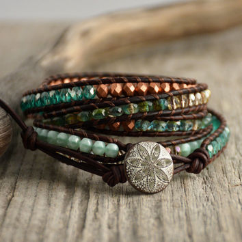 Teal, turquoise, copper beaded bracelet. Long leather wrap bracelet