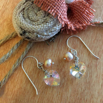 Peach Pearl and Crystal Heart Earrings Dainty Small Spring or Summer Light Orange Jewelry Easter Birthday Wedding Shower Prom Gift For Her