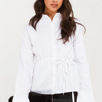 Bell Sleeve Button Up Shirt in White