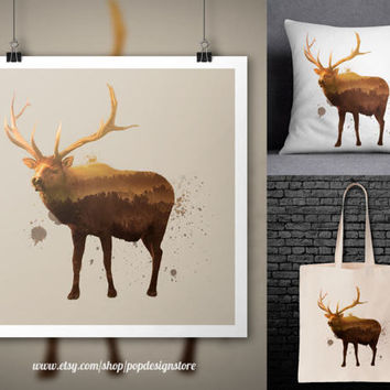 Reindeer Double Exposure Nature Landscape Forest Animals Print Poster Tote Bag Mug Frame Pillow Case Digital File Download PNG High Quality