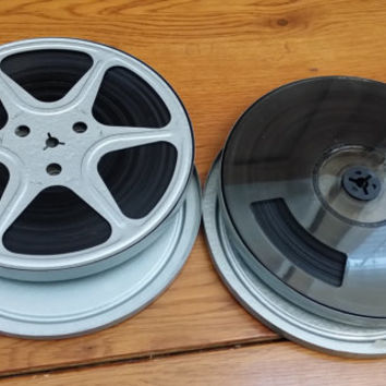 Vintage 8mm Metal Film Reels and Canisters Set of 2 Home Movies Great for Media Room Decor Repurposing Upcycling Altered Art