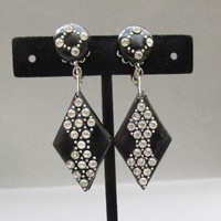Mid-Century Modern 1950's Signed VENDOME Vintage Black Lucite & Rhinestone Long Dangle Earrings