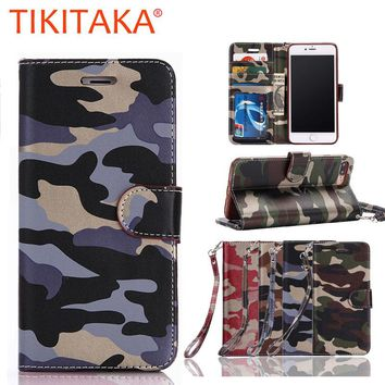 For Apple iphone 7 6 6s Plus 5 Cover Luxury Fashion Army Camo Camouflage Leather Flip Case For Samsung Galaxy S8 S6 S7 edge Case