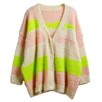Girls Korean Style Rainbow Color Mohair Cotton Blend Batwing Cardigan Sweater