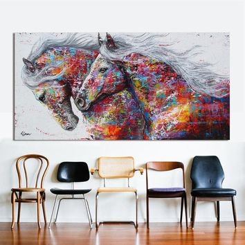 HDARTISAN Animal Wall Art Pictures For Living Room Home Decor Canvas Painting The Two Running Horse No Frame