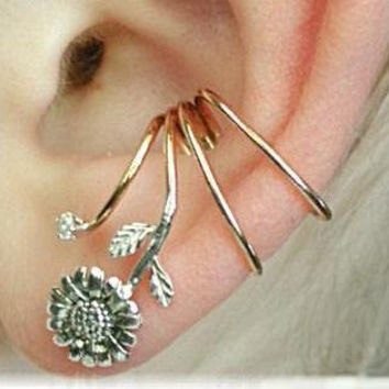 Sunflower Ear Wrap - Sterling Silver and 14K Gold Filled - SINGLE SIDE