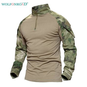 WOLFONROAD Men's Outdoor Hiking Python T-shirts Military Tactical T Shirt Men Camouflage Shirt For Shooting Hunting Plus Size