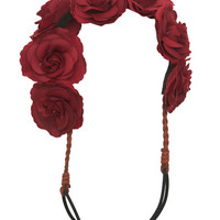 Crimson Rose-Lined Headwrap | Wet Seal
