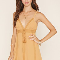 Crochet-Trim Cami Mini Dress