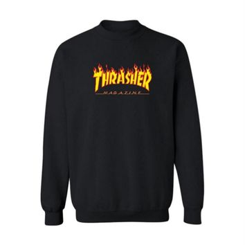 Fall and Winter Thrasher Flame Skateboard Tide Death Hip Hop West Coast Harajuku cotton round neck sweater Yellow letters-3