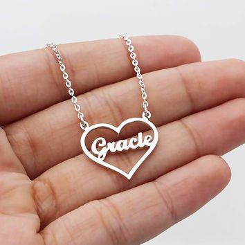 Rose Gold Silver Personalized Custom Name Pendant Necklace Women Customized Love Heart Nameplate Necklace Handmade Jewelry BFF