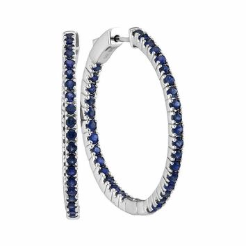 14kt White Gold Women's Round Blue Sapphire Hoop Earrings 2-3-4 Cttw - FREE Shipping (USA/CAN)