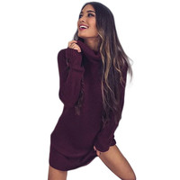 Winter Women Dress Knitted Sweater Dress Full Sleeve Turtleneck Sweater Dress Loose Solid Winter Casual Mini Vestidos GV380