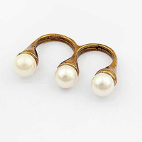 Bohemian Hippie Double Finger Pearl Ring