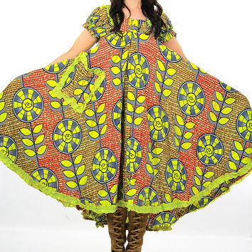 1960s Psychedelic hippie Boho floral tent dress
