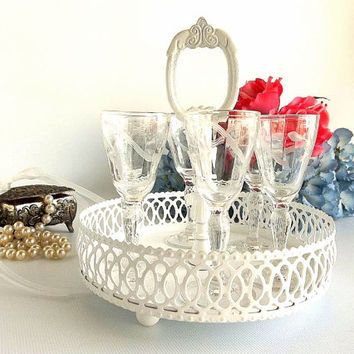 Vintage SIX Elegant Aperitif glasses & caddy, Etched set aperitif liqueur cordials stemmed glasses  w/ white ornate filigree caddy tray