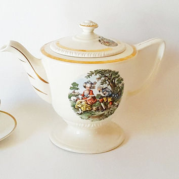 Vintage Tea Coffee Pot Large Teapot Gold Cream China Teapot Gold Green Transferware Scenic Transferware China Neoclassical Cottage China