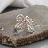Wire Wrapped Adjustable Toe Ring Midi or Upper Knuckle Ring in Silver toned Copper Wire