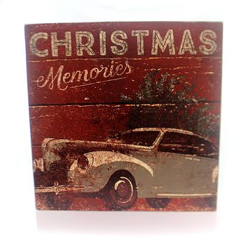 Christmas CHRISTMAS MEMORIES BOX SIGN Wood Old Fashion Car Tree 28775