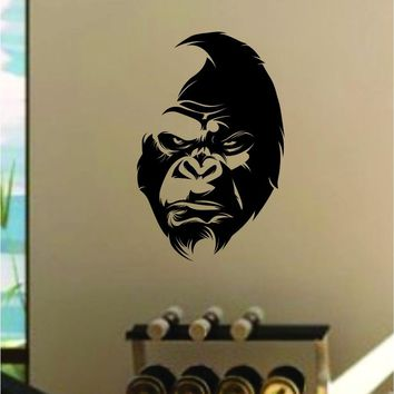 Gorilla Face Wall Decal Home Decor Art Sticker Vinyl Bedroom Room Animal Beast Gym Fitness Health