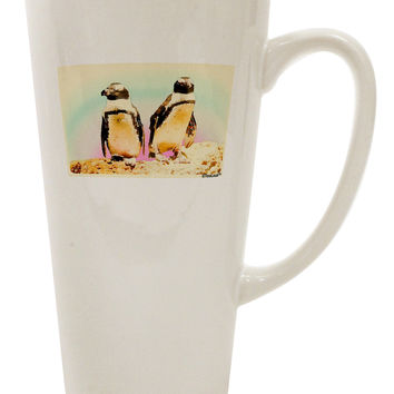 Magellanic Penguin Watercolor 16 Ounce Conical Latte Coffee Mug