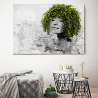 """Made by Nature 2, Mixed Media Green Eco Art, Cottage Chic Canvas Art, Urban Green White Eco Art Print up to 72"""" by Irena Orlov"""