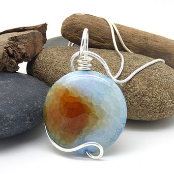 Multi Colored Stone Necklace, Dragon Vein Agate Pendant, Sterling Silver, Wire Wrapped, Colorful Baby Blue, Orange Round Stone Jewelry