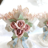 Vintage Heirlooms of Tomorrow Porcelain Flower Vases, Set of 2, Victorian Porcelain Lace and Rose Vases Signed Made in USA Shabby Chic Decor