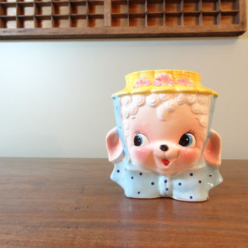 Vintage Rare Miss Priss Utensil or Pen Holder by Royal Sealy, Small Japanese Kitchsy Planter