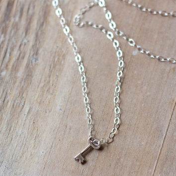 Tiny Key Necklace - Sterling Silver - Mini Key Necklace