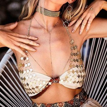 Hot Bralette Accessory Fashion Women Summer Sexy Hollow Out Body Strong Character Metal Chain Bra Chest Chain Body Chain I