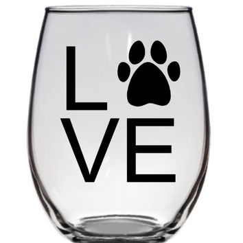 Love Animals Glass, Dog Lovers Wine Glass, Dog Lover Coffee Mug