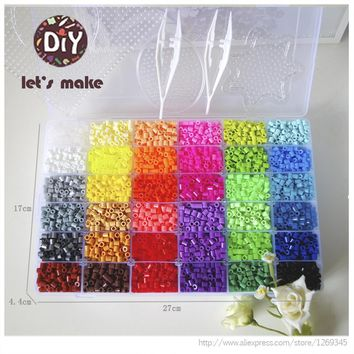 Let's Make 36 Color Perler Beads 10000pcs Ironing Beads 5mm Hama Beads Fuse 2Template+5 Iron Paper+2 Tweezers Puzzle Diy Beads